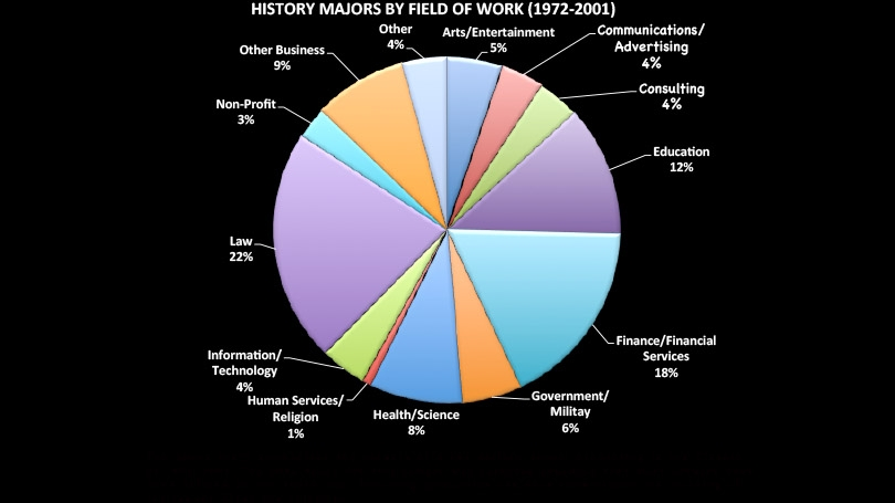 pie chart of history majors by field