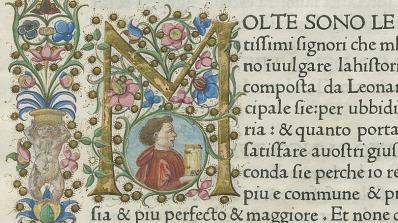 "Details from manuscript ""Historia Florentina,"" by Leonardo Bruni, Venice, 1476, Rauner Library Collection."